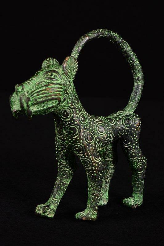 13452 Bronze: African Old Benin Leopard Figure/Figure Nigeria