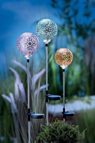 """Solar-Gartenstecker """"Firenze"""", 3er-Set LED Dekoration Garten Deko Beleuchtung"""