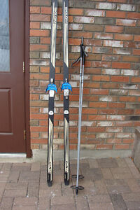 Three Pin Binding Cross Country Ski and Poles