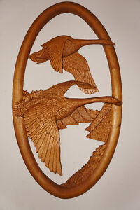 "COMMISSIONED PIECE ""GEESE GOING SOUTH"" WOOD CARVING"