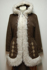 70s Vintage Faux Fur Trimmed Short Coat / Long Jacket with Hood