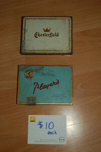 A variety of Flat 50 cigarette tins