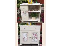 Stunning Shabby Chic Hand Painted Sideboard Cupboard TV Unit Cabinet with Drawers