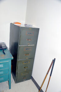 Antique Army Green Wood Filing Cabinet