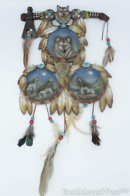 Native American Hammer 3 Circle Fantasy Moon & Wolves Nature Feather Wall Plaque