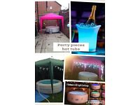HOT TUB bouncy castles popcorn and candy floss machines