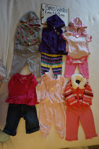 Girls winter clothes sizes 6-9 mo.+ 6-12mo 47 ITEMS for $50