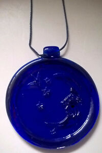 Large Cobalt Blue Stained Glass Moon & Stars Suncatcher Ornament