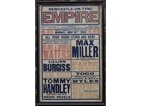 Vintage Newcastle empire theatre framed poster featuring max Miller dated 1934 near antique