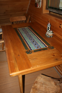 SOLID  PINE TABLE  with MOSAIC INLAY