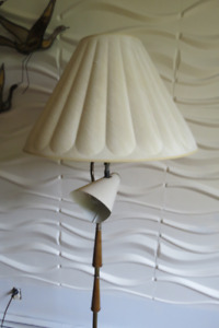 Mid century modern floor lamp with wood accents