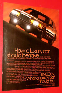 BEAUTIFUL 1988 LINCOLN MARK VII LSC LUXURY CAR AD - ANONCE 80S