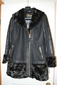 Brand New Guess Women's Wool/Poly/Rayon Winter Coat, Black