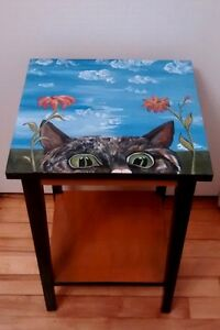 Outdoor porch or Indoor Hand Painted Cat table