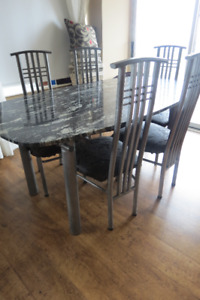 Dining Table - 6 piece, marble