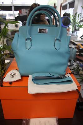 Authentic HERMES Toolbox 26 Blue Saint Cyr Taurillon Clemence Shoulder Bag NEW