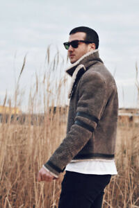 Aunthetic fur&leather mens coat