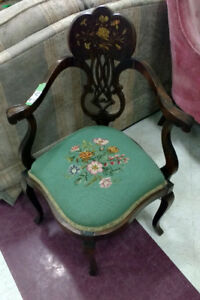 Antique Needlepoint Chair at Habitat Restore Cobourg
