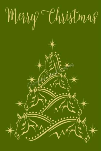 "REUSABLE STENCIL 9362 AK 12""x18""  Horse Christmas Tree Sign STENCILS"