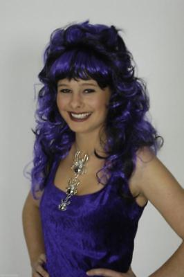 Perücke Saphira Vampir Halloween Hexen Teufel Hexe Kostüm lila Umhang Vamp Hut