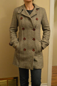 womens brown/cream wool pea coat size small