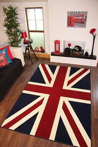 Quality Blue Red Union Jack Flag Print Rug 150cm X 100cm London Union Jack