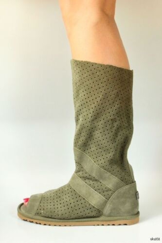 Australia Luxe 'ishtar' Olive Suede Open Toe Gladiator Boots - Hot