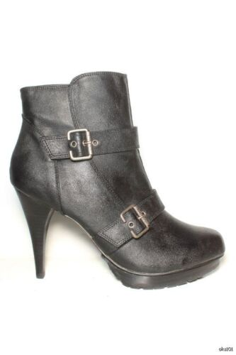 Guess 'powell' Black Buckled Zipper Ankle Boots Size - 10