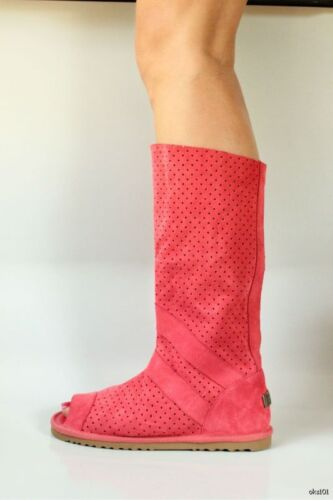 Australia Luxe 'ishtar' Coral Suede Open Toe Gladiator Boots - Hot