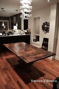 Reclaimed Wood Pedestal Tables Heavy Duty Kitchener / Waterloo Kitchener Area image 2
