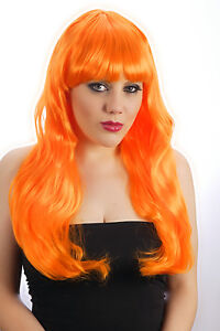 Black White Blonde Brown Orange Green Baby Hot Pink Fringed Long wig Fancy Dress