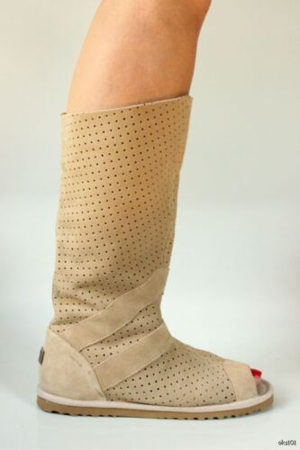 Australia Luxe 'ishtar' Sand Suede Open Toe Gladiator Boots - Hot