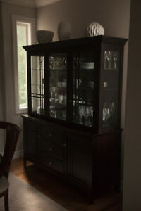 Dark brown buffet and hutch cabinet