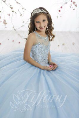 TIFFANY PRINCESS 13514 CRYSTAL BLUE GIRLS PAGEANT GOWN DRESS SZ 16 - Girls Tiffany Blue Dress