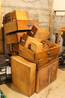 HUGE LOT of ANTIQUE Drawers SOLID OAK Apothecary Cabinet