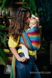 Baby Wrap, Herringbone Weave - LITTLE HERRINGBONE RAINBOW NAVY BLUEN - size XS - LennyLamb