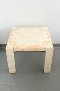 Vintage Stone & Brass Side Table, 2 Available