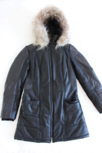 Leather winter coat with removable hood