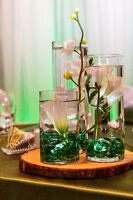 Vases, flowers, stones and lights