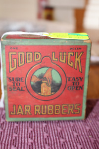 VINTAGE GOOD LUCK JAR RUBBERS CARDBOARD BOX