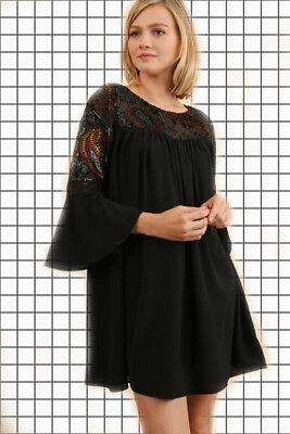 SML UMGEE/Bluheaven BLACK Embroidered Velvet Burnout Yoke Dress/Tunic BHCS