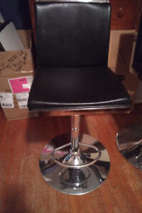 Kitchen Counter or Bar Stools-Chrome/leather