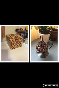 Leopard print tealight candle holder + box