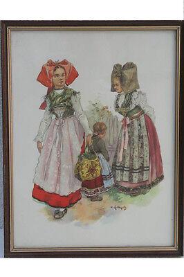 Frau mit Kindern in Elsässer Tracht