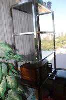 SHELVING UNIT - 4 SHELVES - METAL FRAME GLASS SHELVES