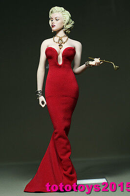 DIY 1:6 Scale Female Marilyn Monroe red dress for 12