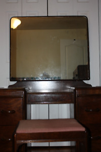 Dresser With Makeup Mirror For Sale + Bench $150