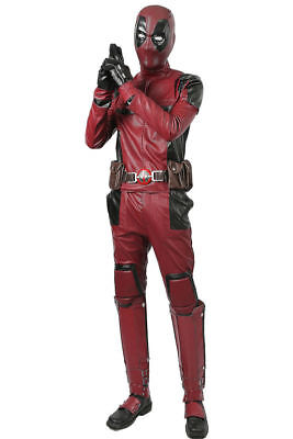 Movie Deadpool Suit With Belt Gloves Outfit Cosplay Costume Props Fancy Dress