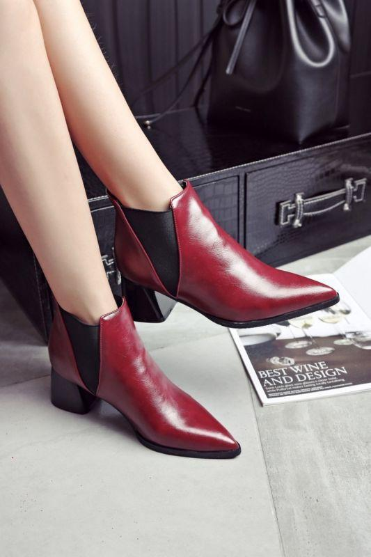 Womens Leather Chic Pointy Toe Shoes Ankle Boots Retro Chelsea Cuban Heels 2019 1