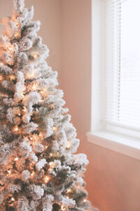New flocked pre-lit christmas tree